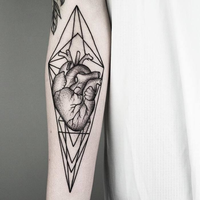Anatomical Heart Tattoo with Geometric Elements by Malvina Maria