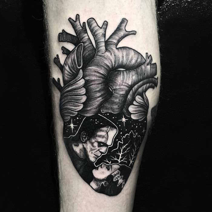 Black Ink Anatomical Heart Tattoo by Merry Morgan