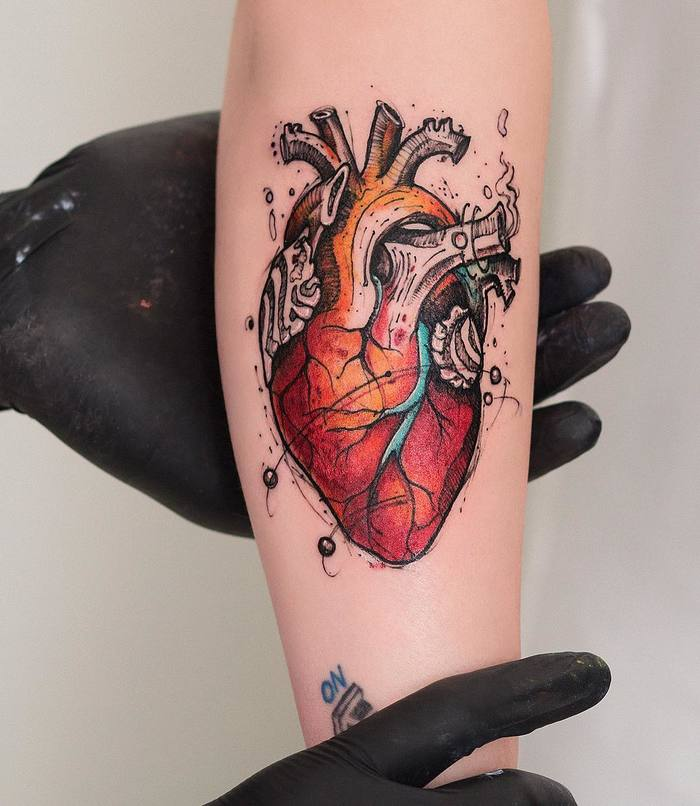 Colored Anatomical Heart Tattoo by Robson Carvalho