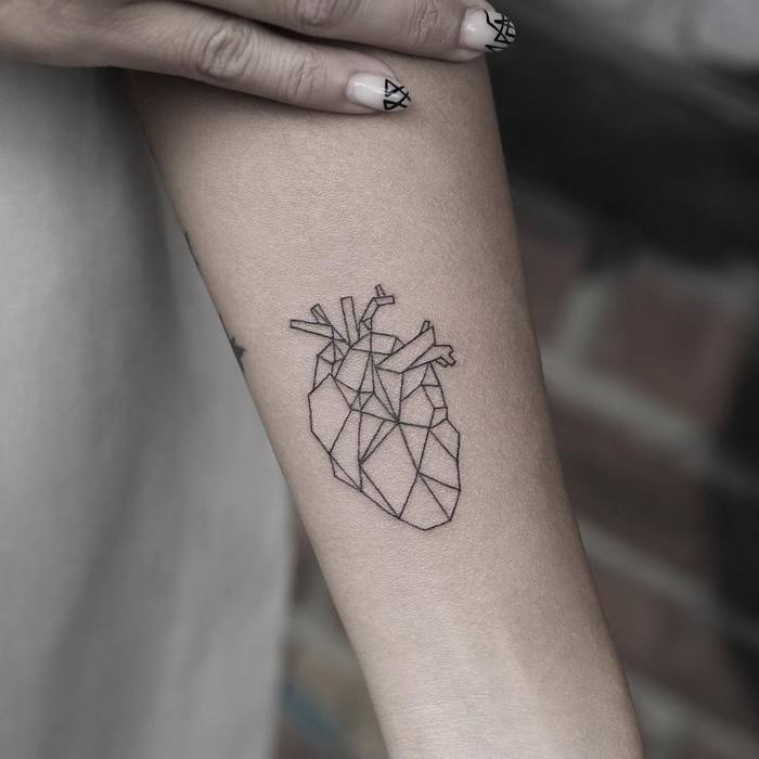 Geometric Anatomical Heart Tattoo by Rob Green