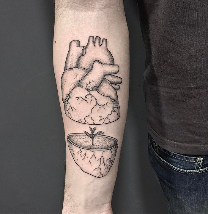 Anatomical Heart Tattoo by Michele Volpi