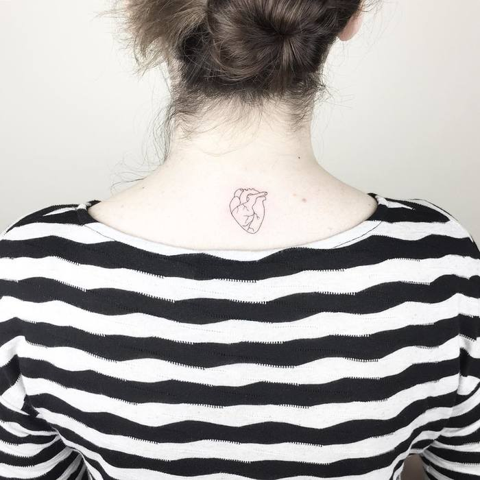 Minimalist Heart Tattoo by Cagri Durmaz