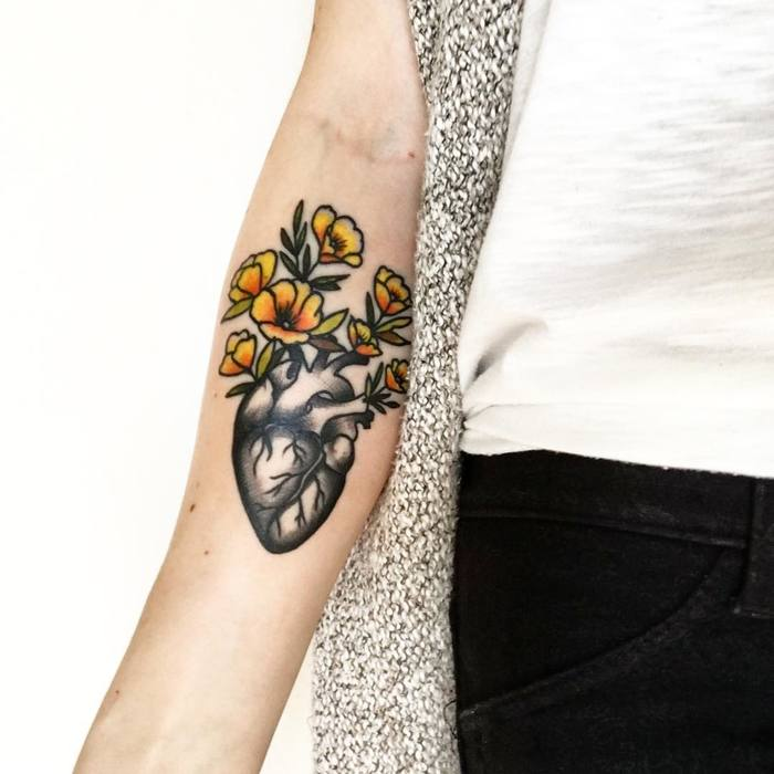 Anatomical Heart Tattoo by Kat Dillon