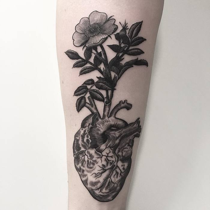 Heart and Wild Rose Tattoo by Oskar