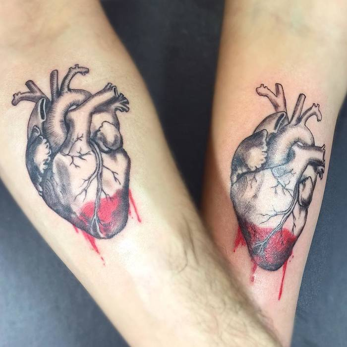 Matching Anatomical Heart Tattoos by Aleksandra Stojanoska