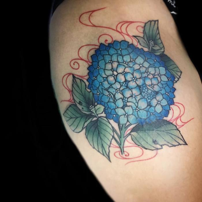 Hydrangea Tattoo by Mica Cat