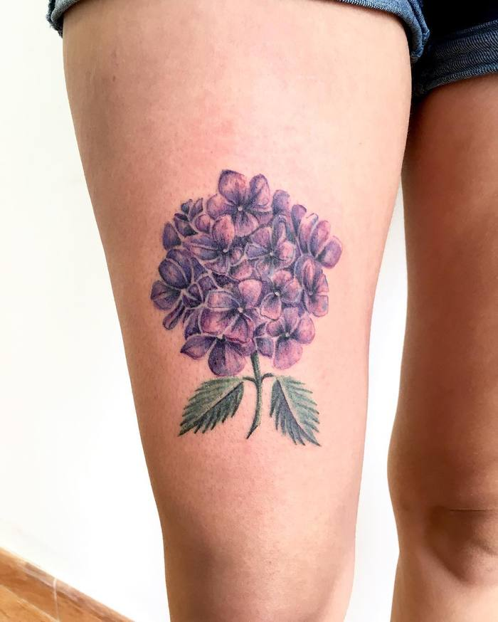 Purple Hydrangea Tattoo by wildhandtattoo