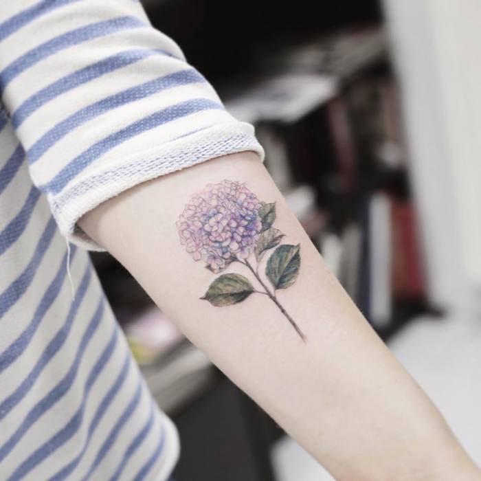 Light Purple Hydrangea Tattoo by tattooist_flower