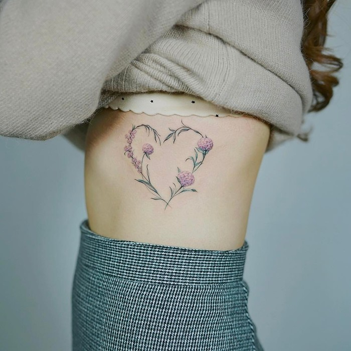 Heart Hydrangea Tattoo by Nando Tattoo