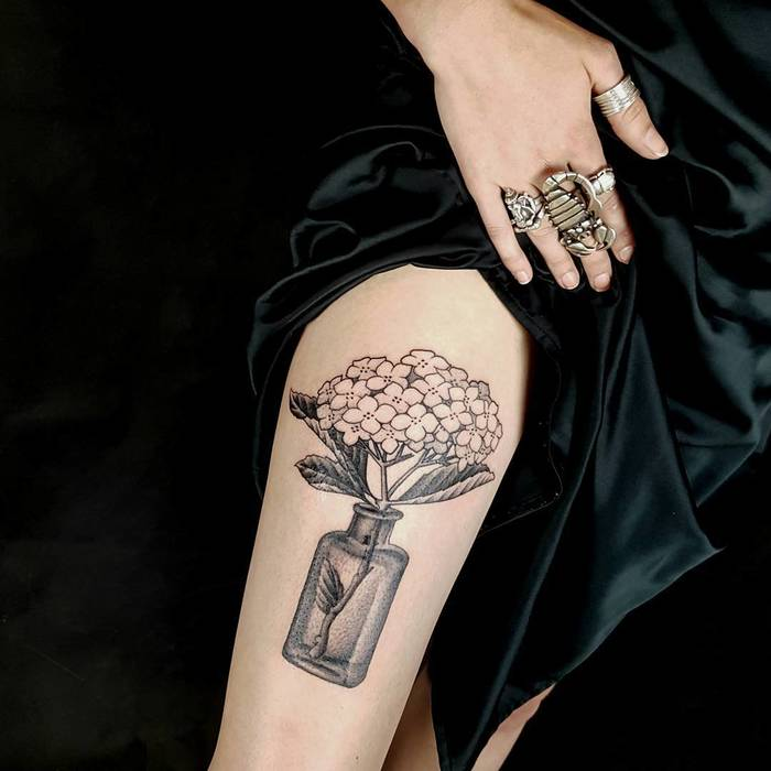 Hydrangea Tattoo by Paul Stillen