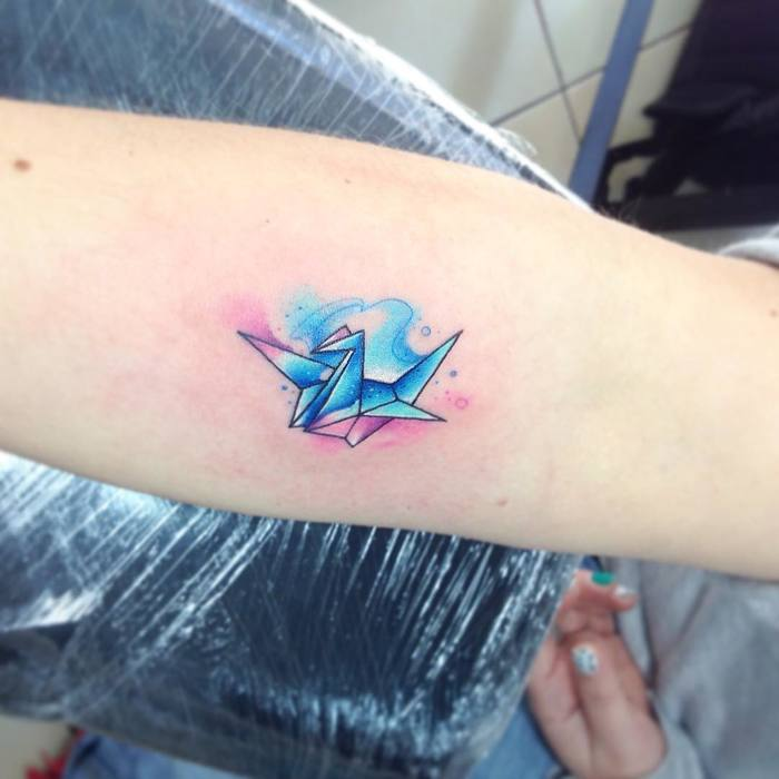 Watercolor Paper Crane Tattoo by Adrian Bascur