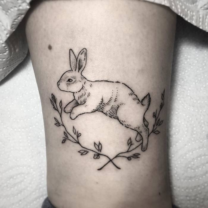 Jumping bunny by mongotattoo
