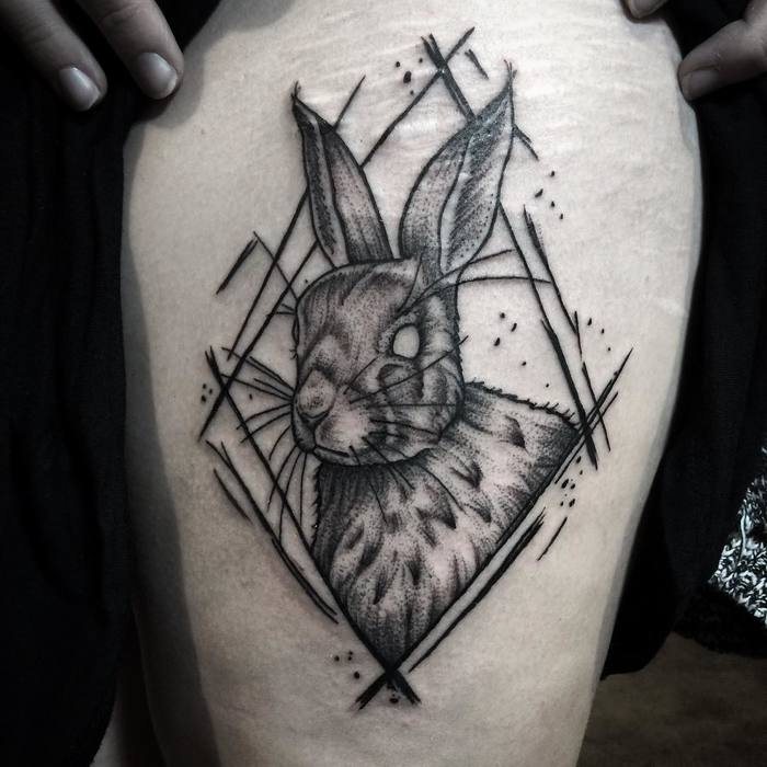 blackwork spooky bunny by Rat Daddy