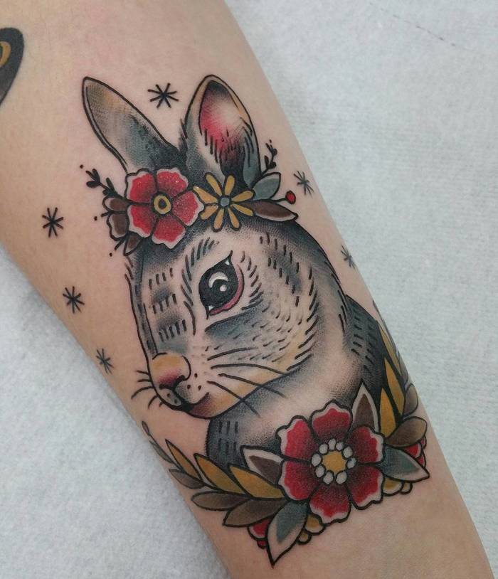 Rabbit with Flowers by Adriana Maluquer