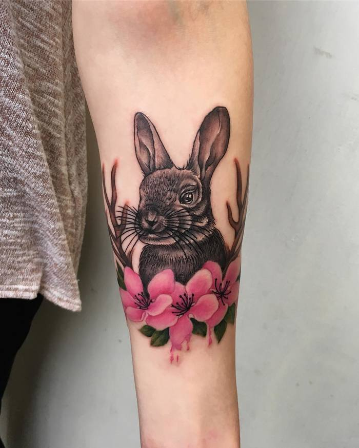 Rabbit and Cherry Blossom by Alice patten