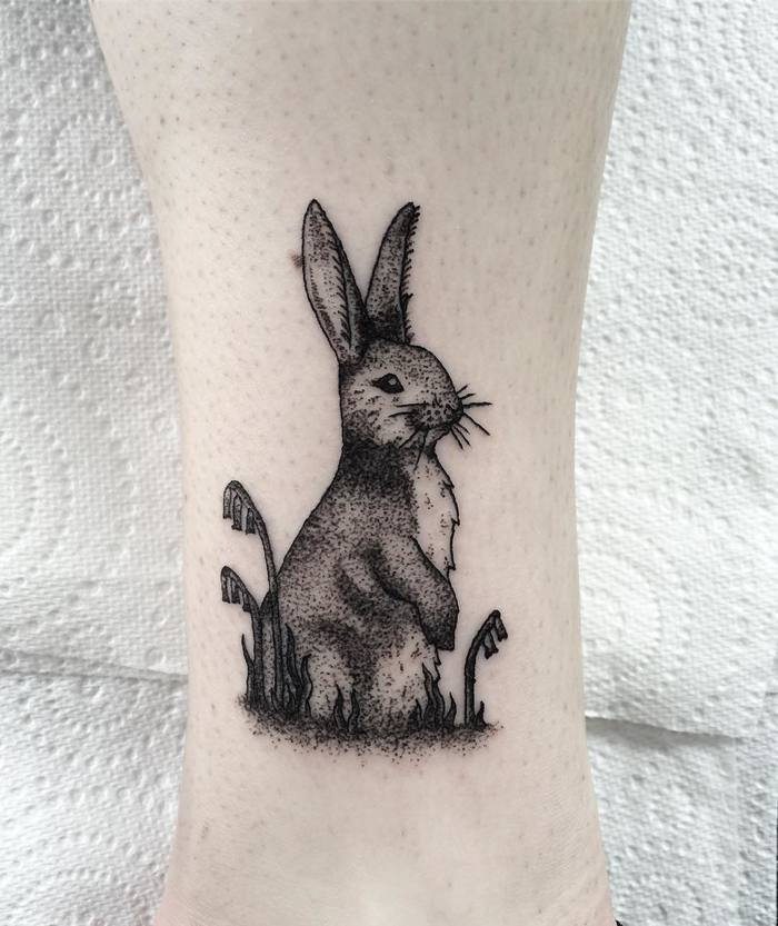 Dotwork Rabbit Tattoo by Lillian Elizabeth