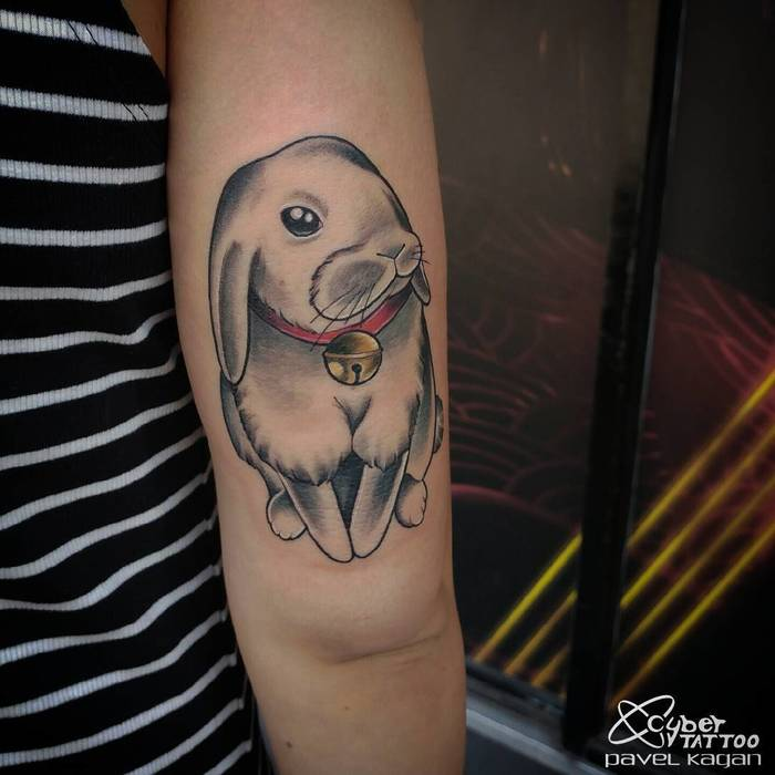 Lovely Rabbit Tattoo by Pavel Kagan