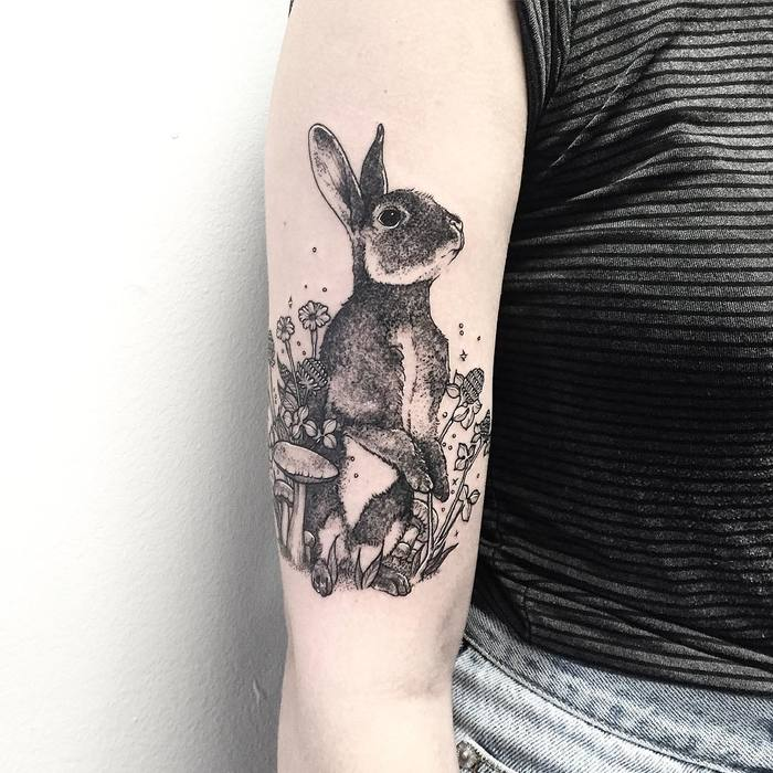 40 adorable rabbit tattoo design ideas for Small bunny tattoo
