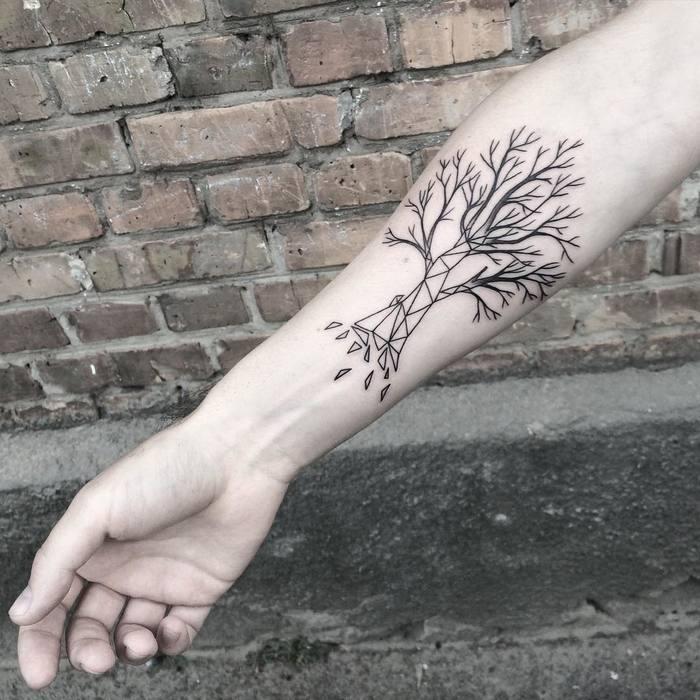 Geometric Tree Tattoo on Forearm by Mary Tereshchenko