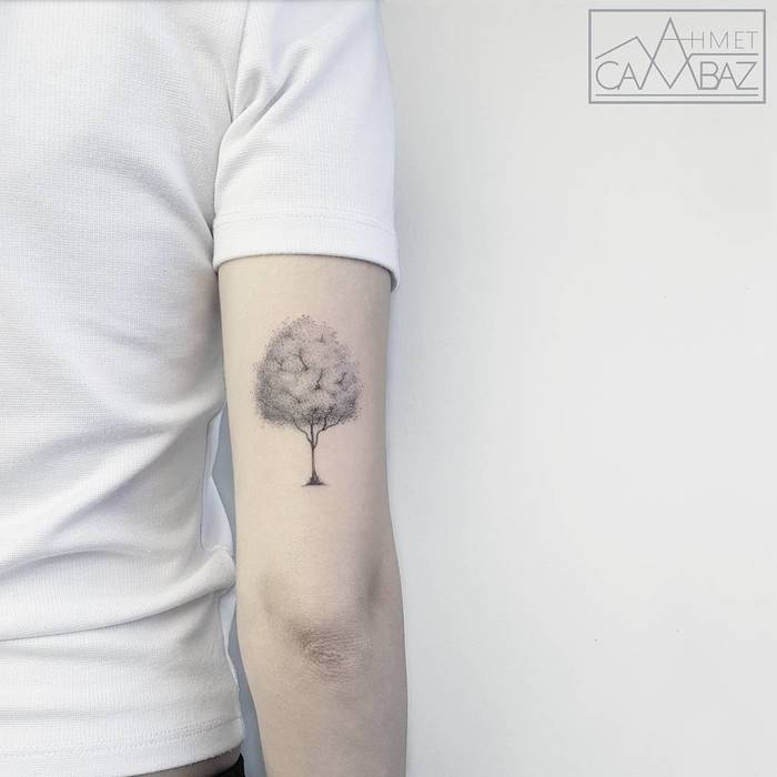 Elegant Dotwork Tree Tattoo by Ahmet Cambaz