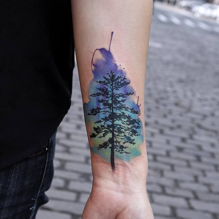 Beautiful Watercolor Tree Tattoo by Joice Wang