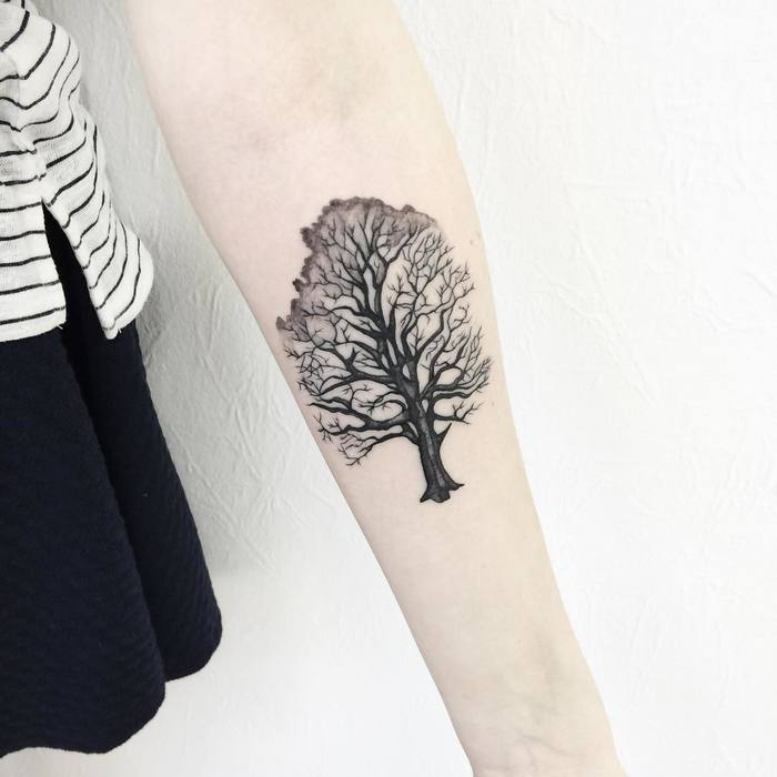 Black Ink Tree Tattoo on Forearm by victoriascarlet93