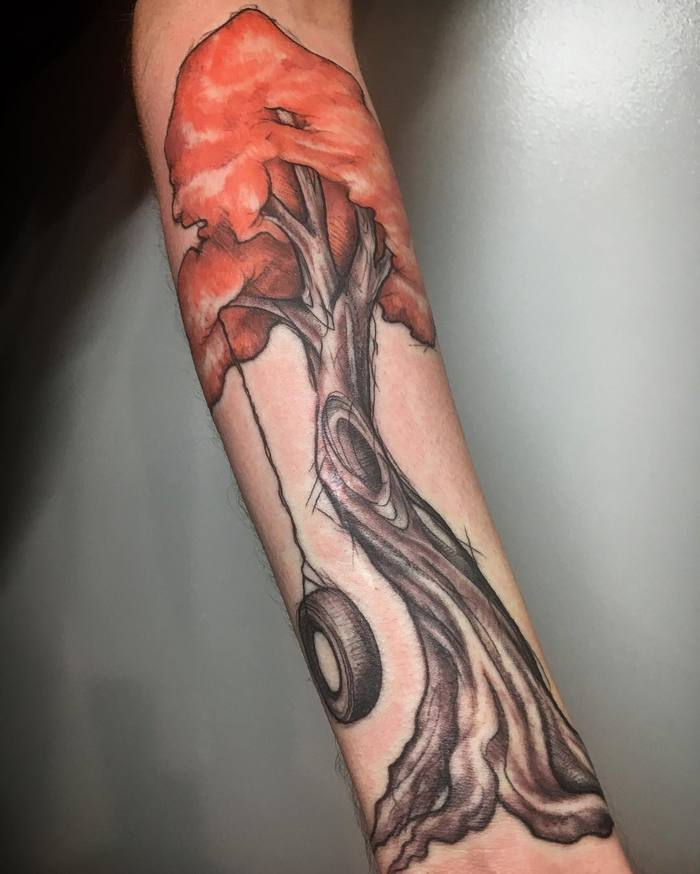 Fall Tree Tattoo on Arm by Connor Alderman