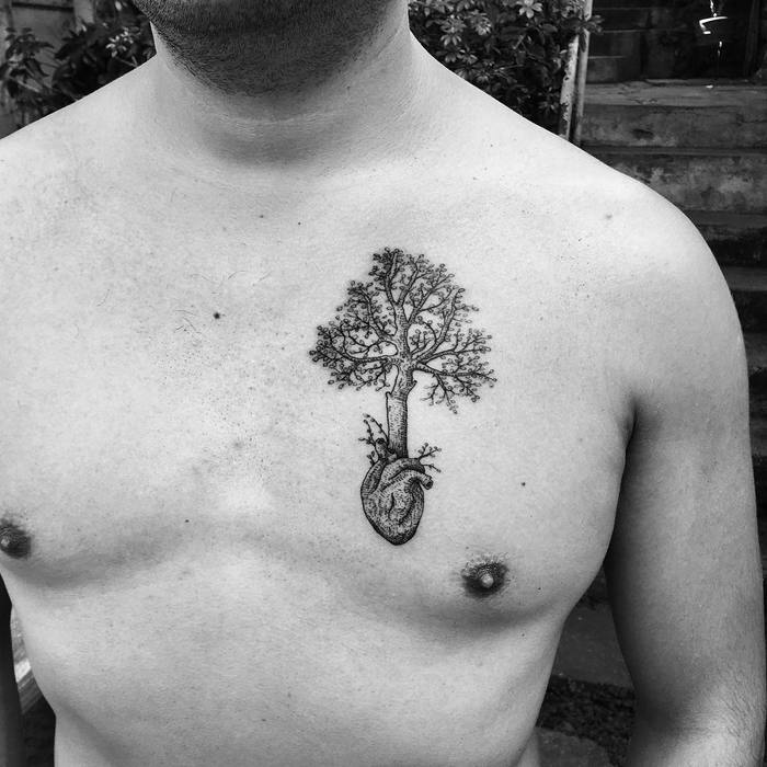 Tree Tattoo and Anatomical Heart by Carlos Bautistab
