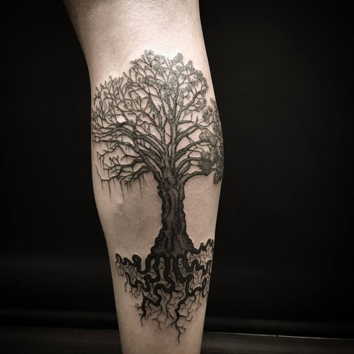 Black Ink Tree Tattoo on Calf by diegocalacatattoo