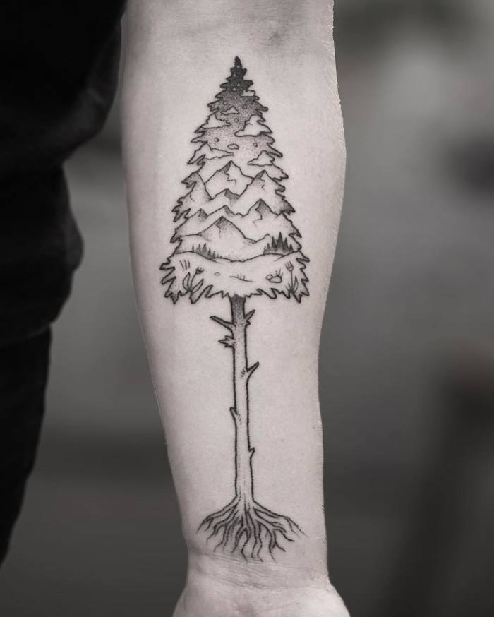 Beautiful Hand Poked Pine Tree Tattoo by Evan Lorenzen