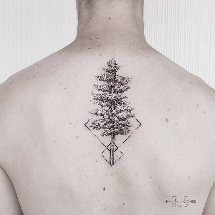 Dotwork Tree Tattoo on Upper Back by Pablo Sánchez