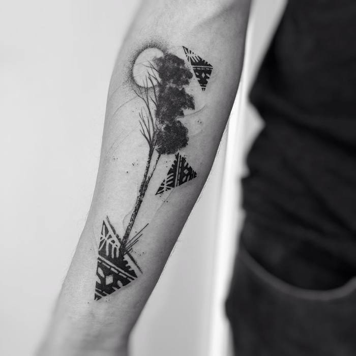 Tree Tattoo with Full Moon and Abstract Shapes by Alam Vinicius