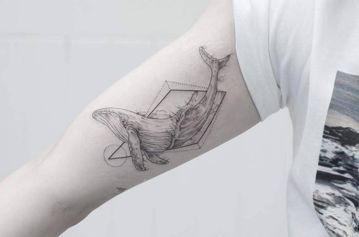 Fine Line Geometric Whale Tattoo by Phoebe Hunter