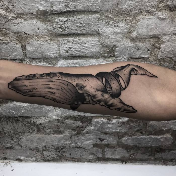 Neotraditional Blackwork Whale Tattoo by oscarmoontattoos