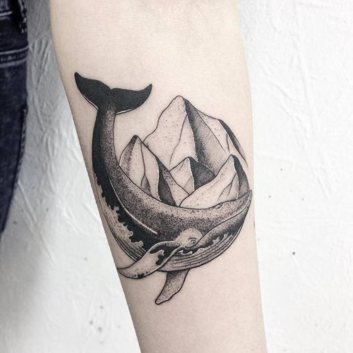 Dotwork Whale and Mountains by victoriascarlet93