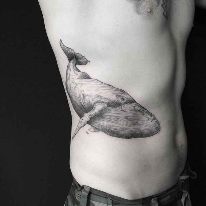 Fine Line Whale Tattoo by Mary Tereshchenko