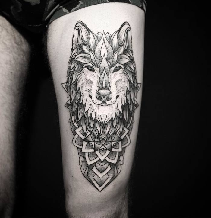 Ornamental Wolf Tattoo by Mary Tereshchenko