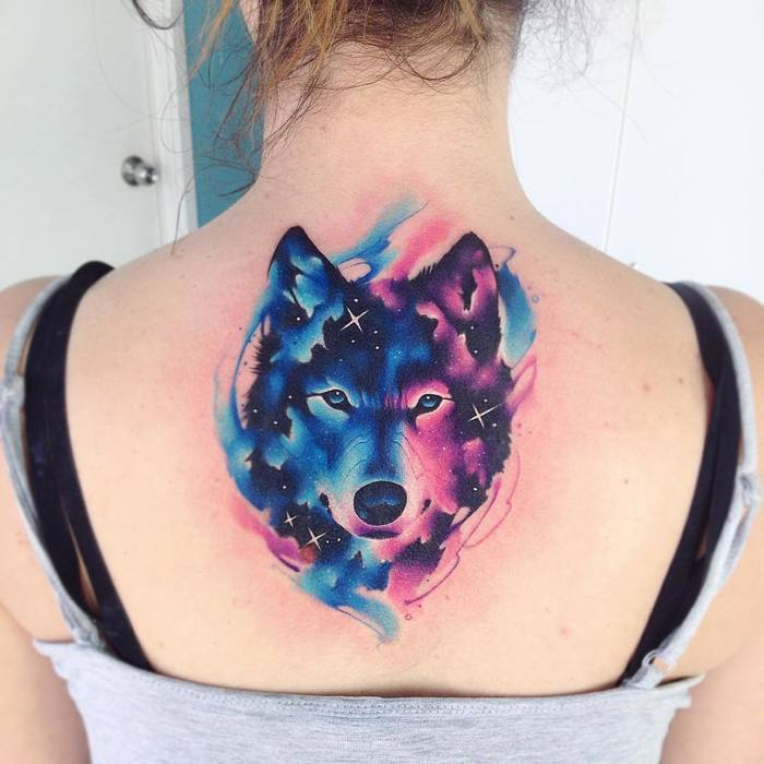 Cosmic Wolf Tattoo by Adrian Bascur