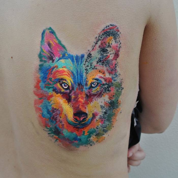 Colored Wolf Tattoo by Ondrash
