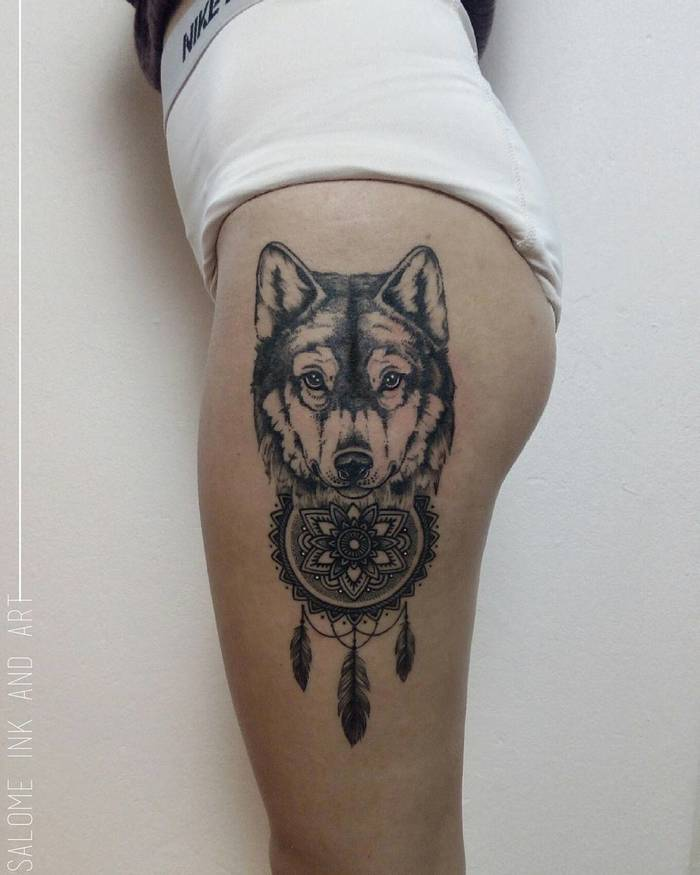 40 amazing wolf tattoo designs and ideas page 4 of 4 for Wolf head dreamcatcher tattoo