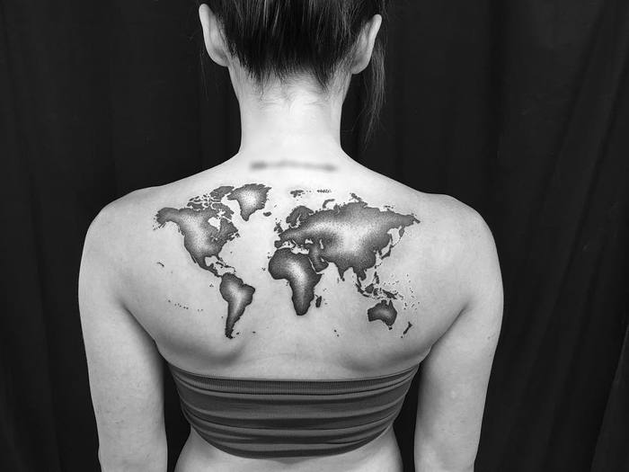 Dotwork World Map Tattoo by Melissa Zimmer