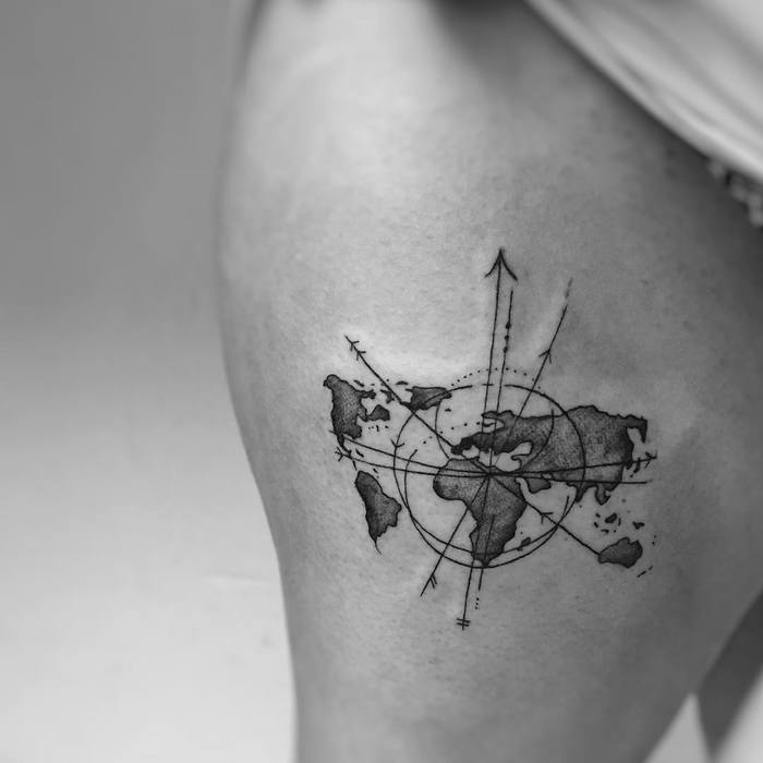 35 best world map tattoo ideas for travel lovers page 2 of 3 13 blackwork map on thigh blackwork map tattoo gumiabroncs Choice Image