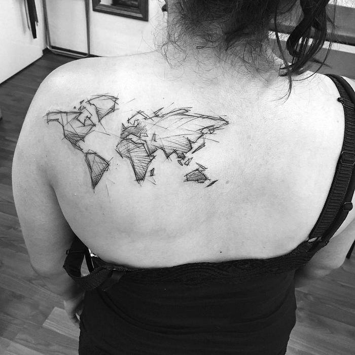 35 best world map tattoo ideas for travel lovers page 2 of 3 16 sketch style world map design gumiabroncs Images