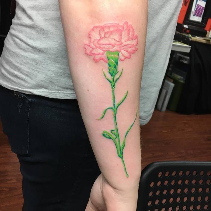 Pink Carnation Tattoo by unlimitedinktattoojag