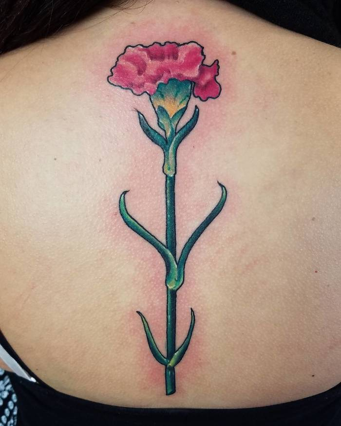 Watercolor Carnation Tattoo by Eileen
