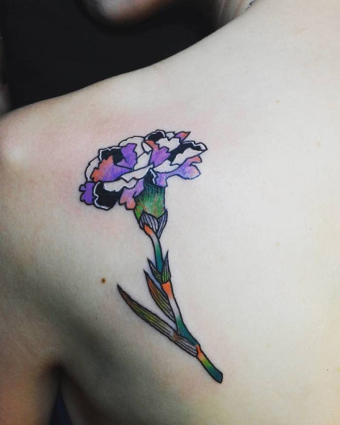 Multicolored Carnation Tattoo by Bomi Lee