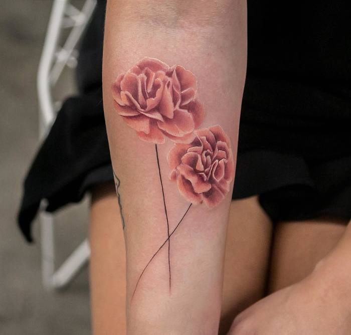 20 wonderful carnation tattoo designs page 2 of 2 for Red carnation tattoo