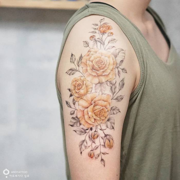Floral Half Sleeve Tattoo by Tattooist Silo