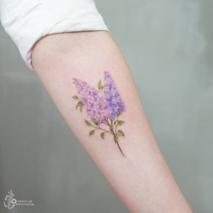 Lilac Flower Tattoo by Tattooist Silo