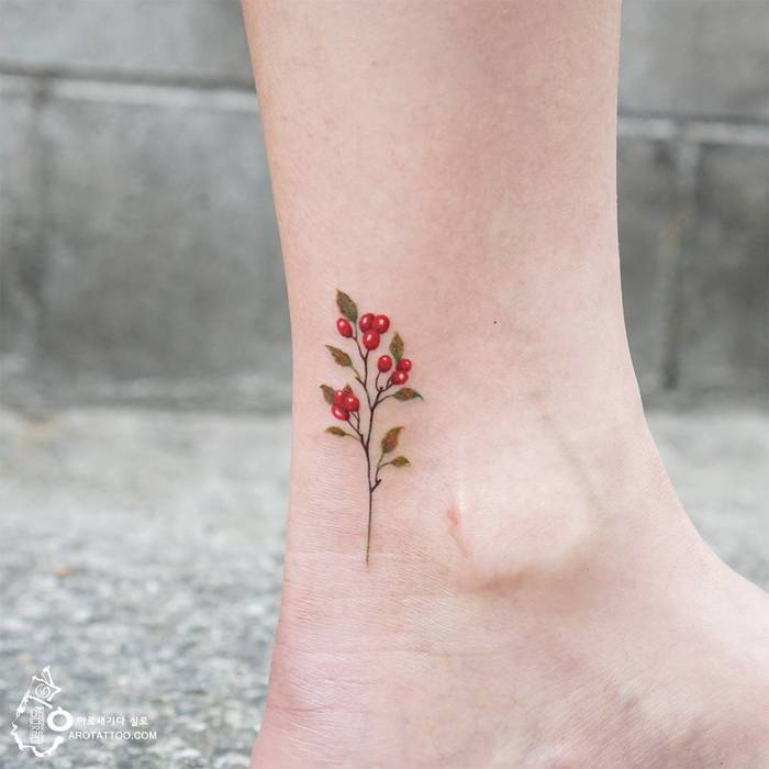 Hawthorn Twig Tattoo by Tattooist Silo